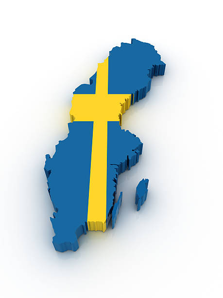 Map of Sweden in Swedish flag colors stock photo