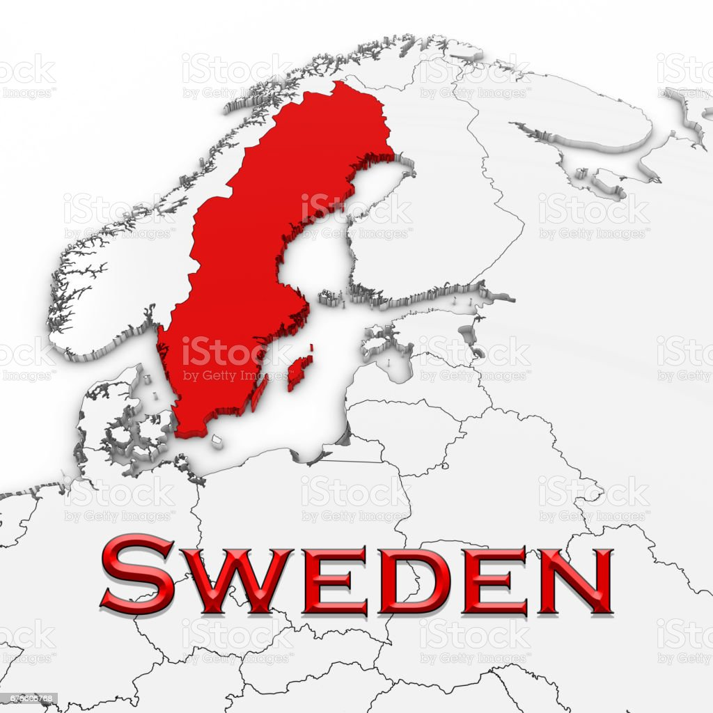 3d Map Of Sweden With Country Name Highlighted Red On White ...
