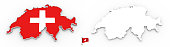 3D map of Switzerland white silhouette and flag