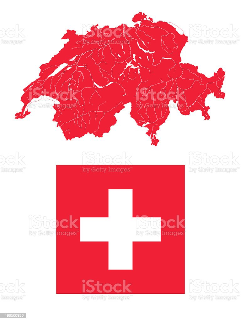 Map of Switzerland with lakes and rivers and Swiss flag. stock photo