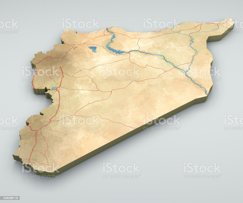 Map Of Syria And Borders Physical Map Middle East Arabian Peninsula