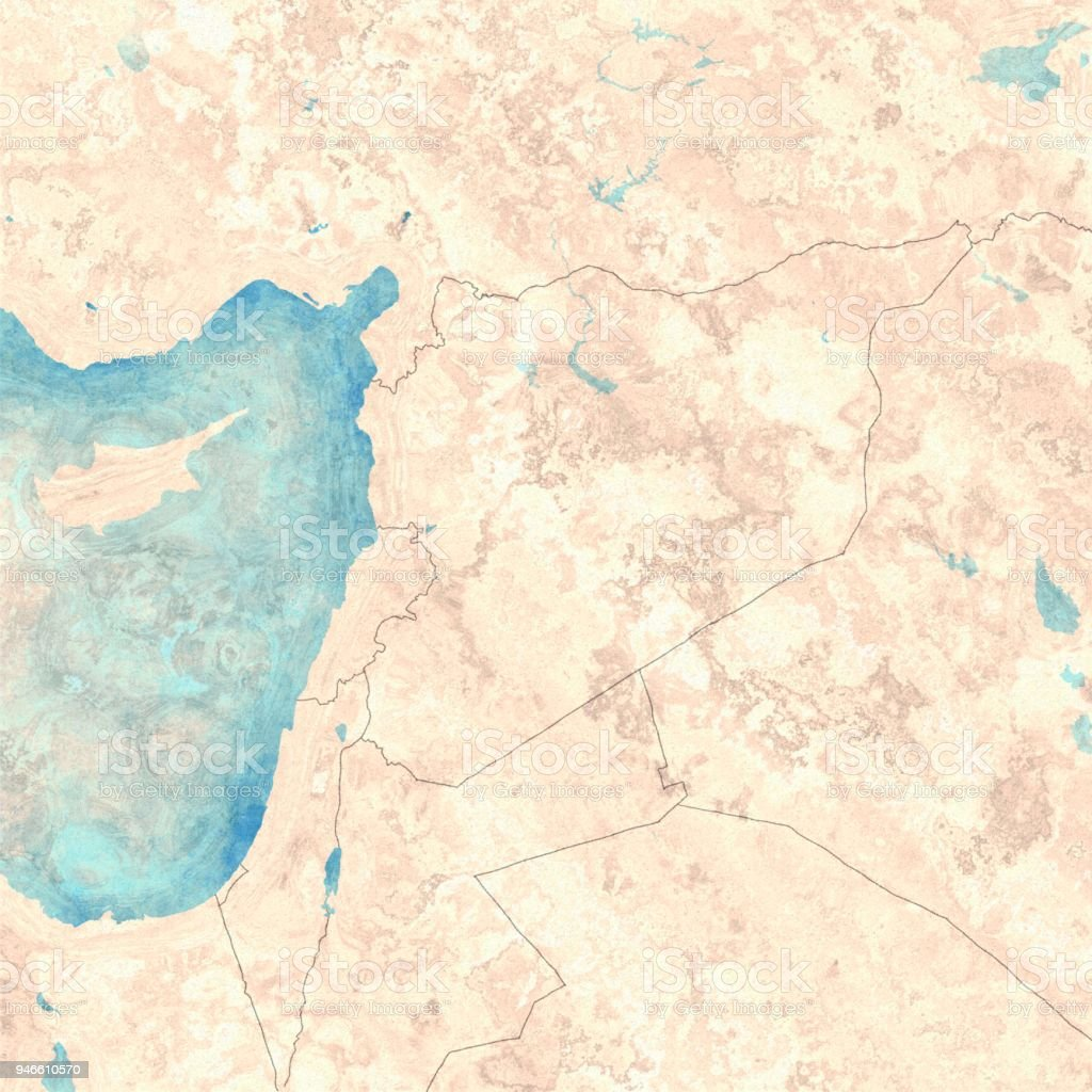 Map Of Syria And Borders Physical Map Middle East Arabian ...