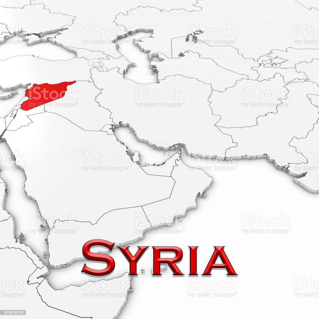 3d map of syria with country name highlighted red on white 3d map of syria with country name highlighted red on white background 3d illustration royalty publicscrutiny Images