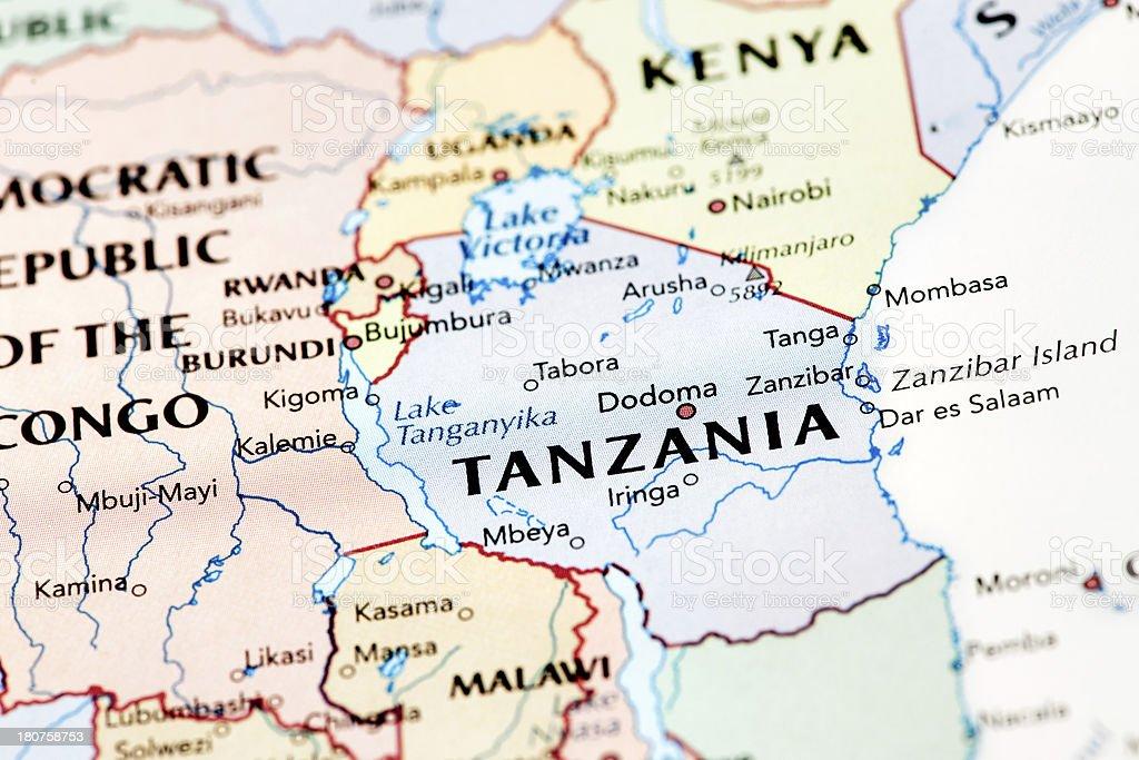 Map of Tanzania stock photo