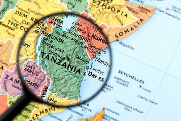 Map of Tanzania Map of Tanzania. Detail from the World Atlas. Selective Focus. tanzania stock pictures, royalty-free photos & images