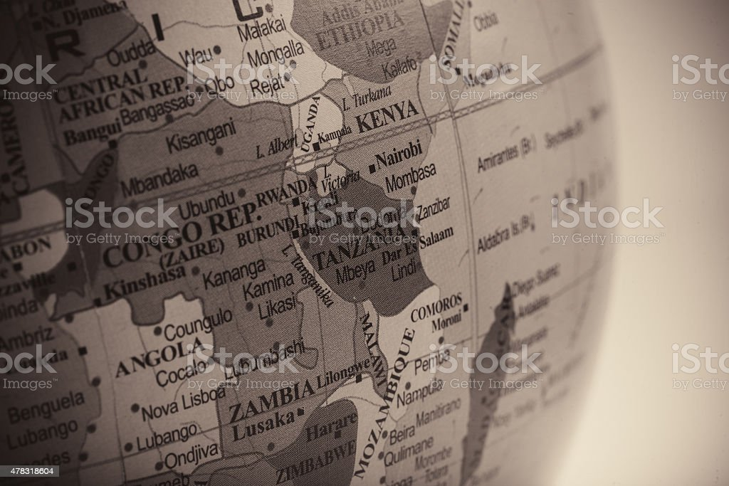 Map of Tanzania with the Neighbouring Countries stock photo