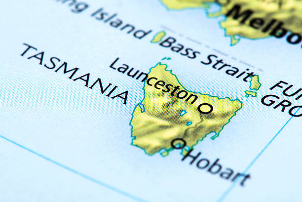 map of tasmania, australia - tasmania stock photos and pictures