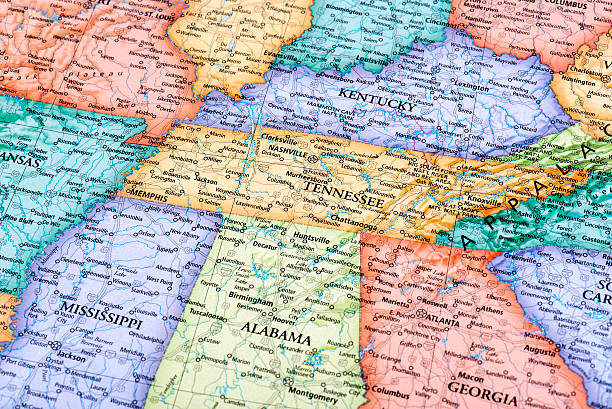 map of tennessee and kentucky states - tennessee map stock photos and pictures