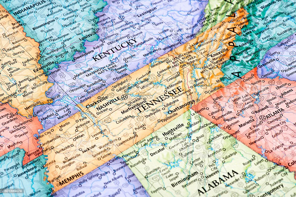 Map of Tennessee State stock photo