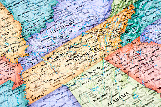 map of tennessee state - tennessee map stock photos and pictures