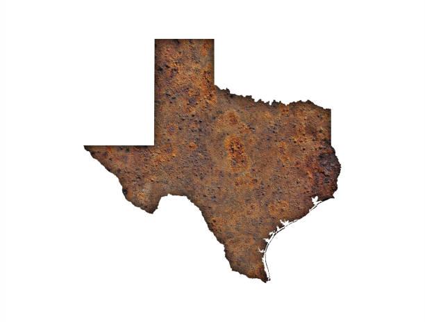 Map of Texas on rusty metal - foto stock