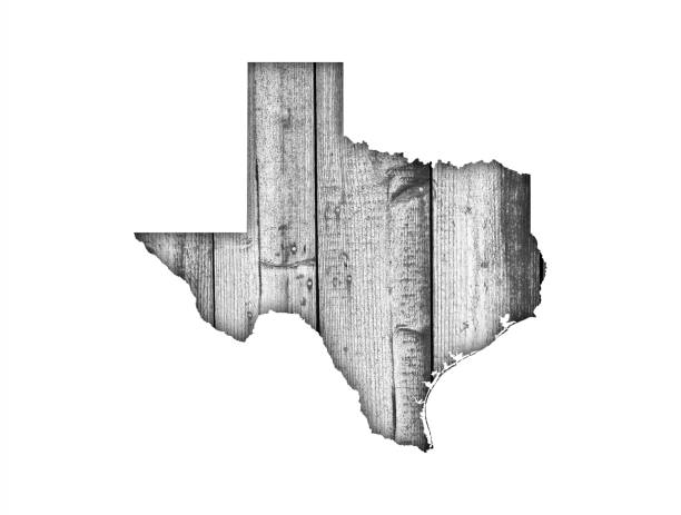 Map of Texas on weathered wood - foto stock