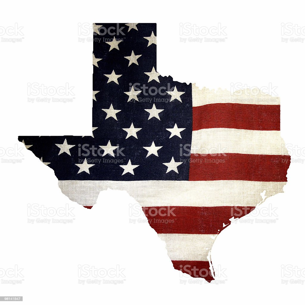 Map of Texas with US flag royalty-free stock photo