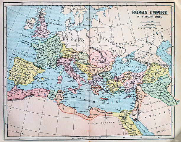 Map of the ancient Roman Empire Victorian era map of the Roman Empire originally published in 1880 ancient rome stock pictures, royalty-free photos & images