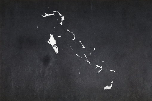 Map Of The Bahamas Drawn On A Blackboard Stock Photo - Download Image Now