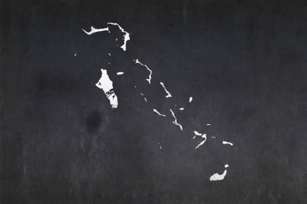 Map of the Bahamas drawn on a blackboard stock photo