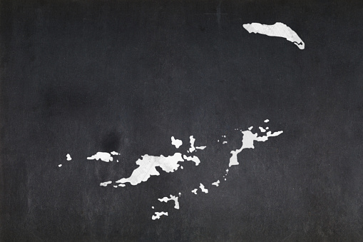 Map Of The British Virgin Islands Drawn On A Blackboard Stock Photo - Download Image Now
