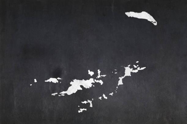 Map of the British Virgin Islands drawn on a blackboard stock photo