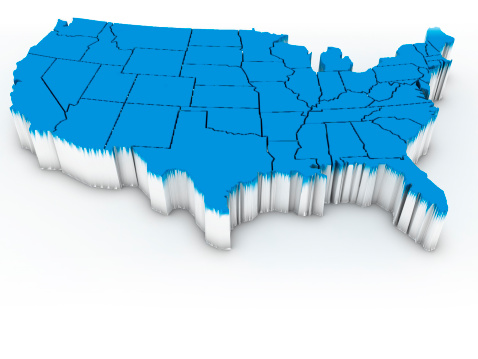 istock 3D map of the continental United States in blue 147476016