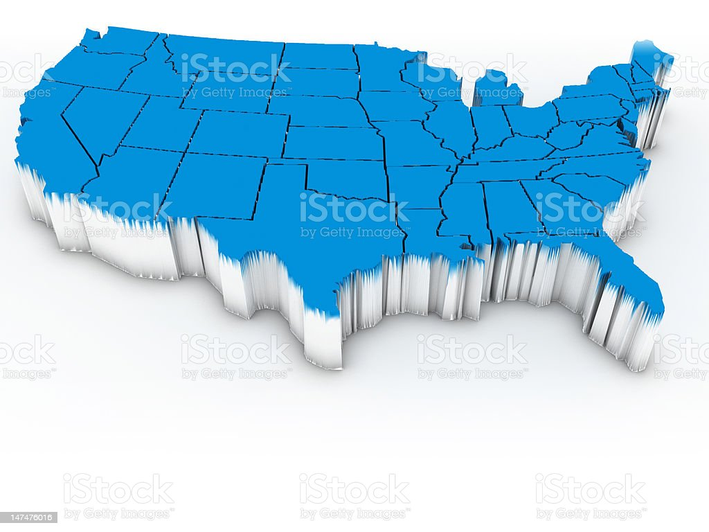 3D map of the continental United States in blue stock photo
