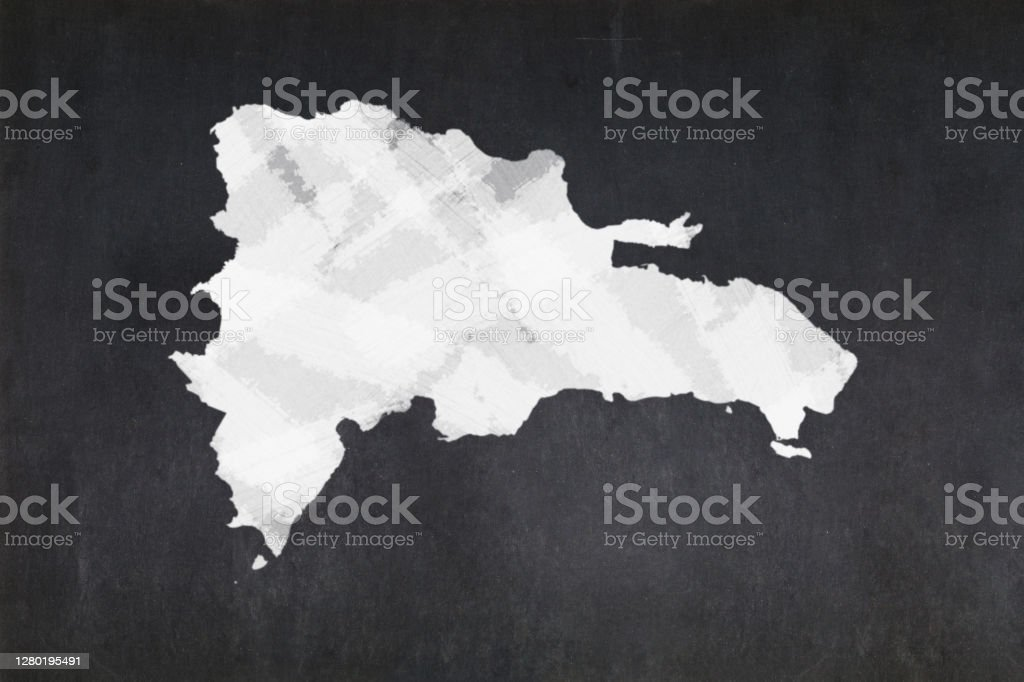 Map of the Dominican Republic drawn on a blackboard Blackboard with a the map of the Dominican Republic drawn in the middle. Backgrounds Stock Photo