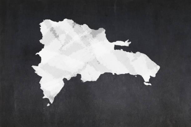 Map of the Dominican Republic drawn on a blackboard stock photo