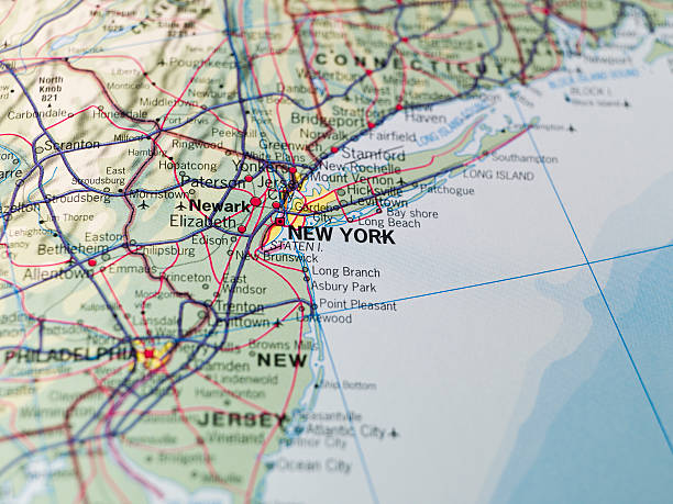 Map of the East Coast USA Map of New Tork at the East Coast eastern usa stock pictures, royalty-free photos & images