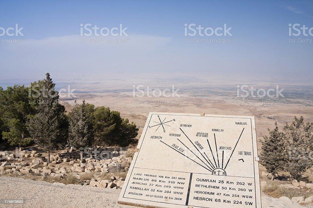 Map of the Holyland on Mount Nebo in Jordan royalty-free stock photo