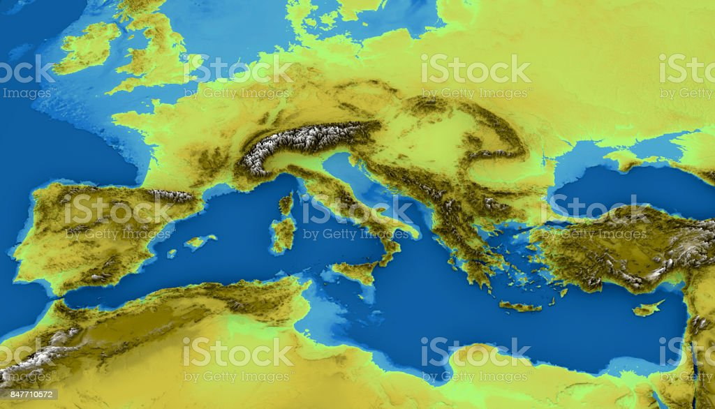 Map Of The Mediterranean Sea And Europe Map Of Heights Sea ...