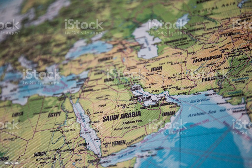 Map of the Middle East stock photo