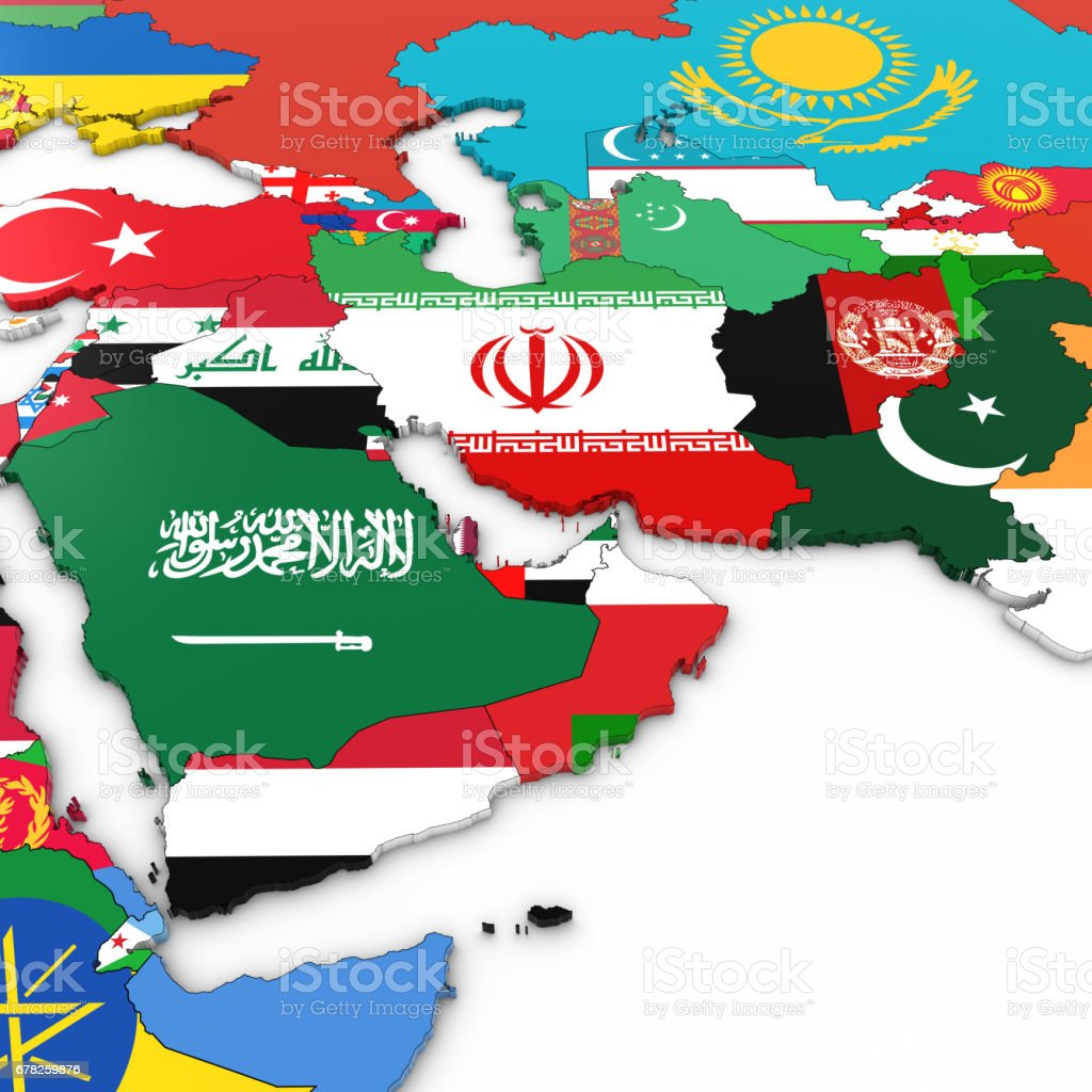 3d Map Of The Middle East With National Flags On White Background 3d
