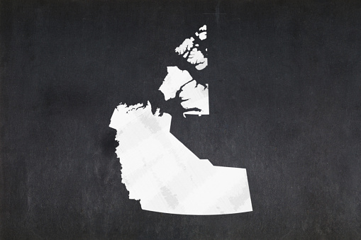 Map Of The Northwest Territories Drawn On A Blackboard Stock Photo - Download Image Now
