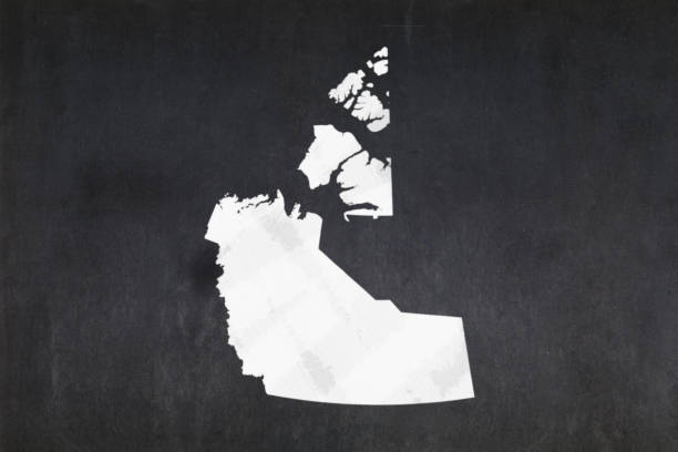 Map of the Northwest Territories drawn on a blackboard stock photo