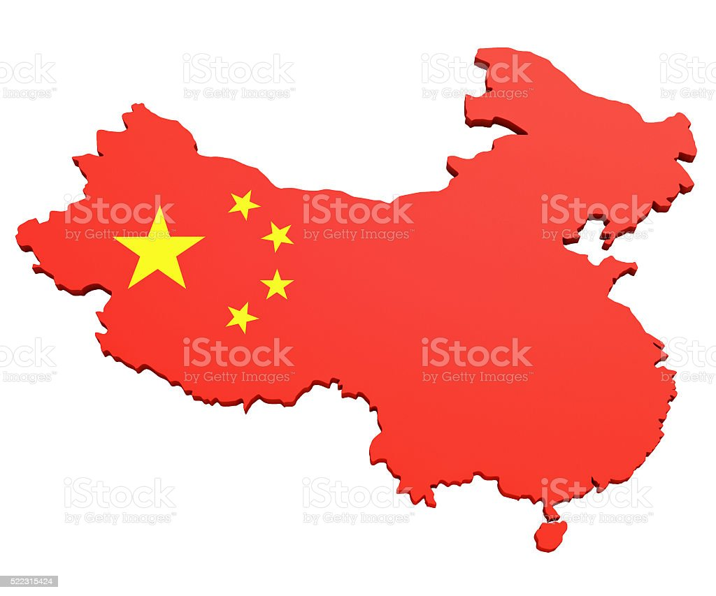 Map of the People's Republic of China - Stock image stock photo