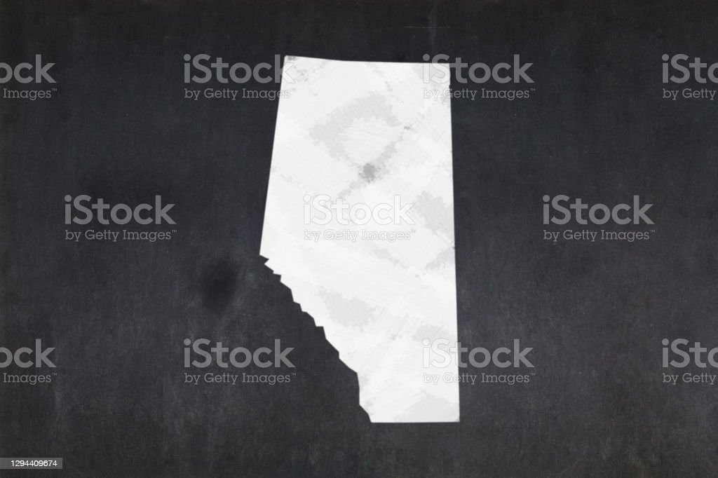 Map of the province of Alberta drawn on a blackboard Blackboard with a the map of the province of Alberta (Canada) drawn in the middle. Alberta Stock Photo