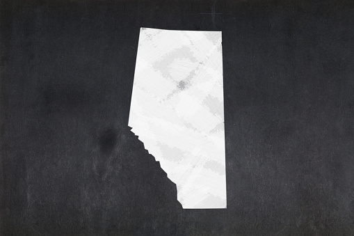 Map Of The Province Of Alberta Drawn On A Blackboard Stock Photo - Download Image Now