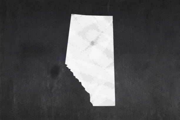 Map of the province of Alberta drawn on a blackboard stock photo
