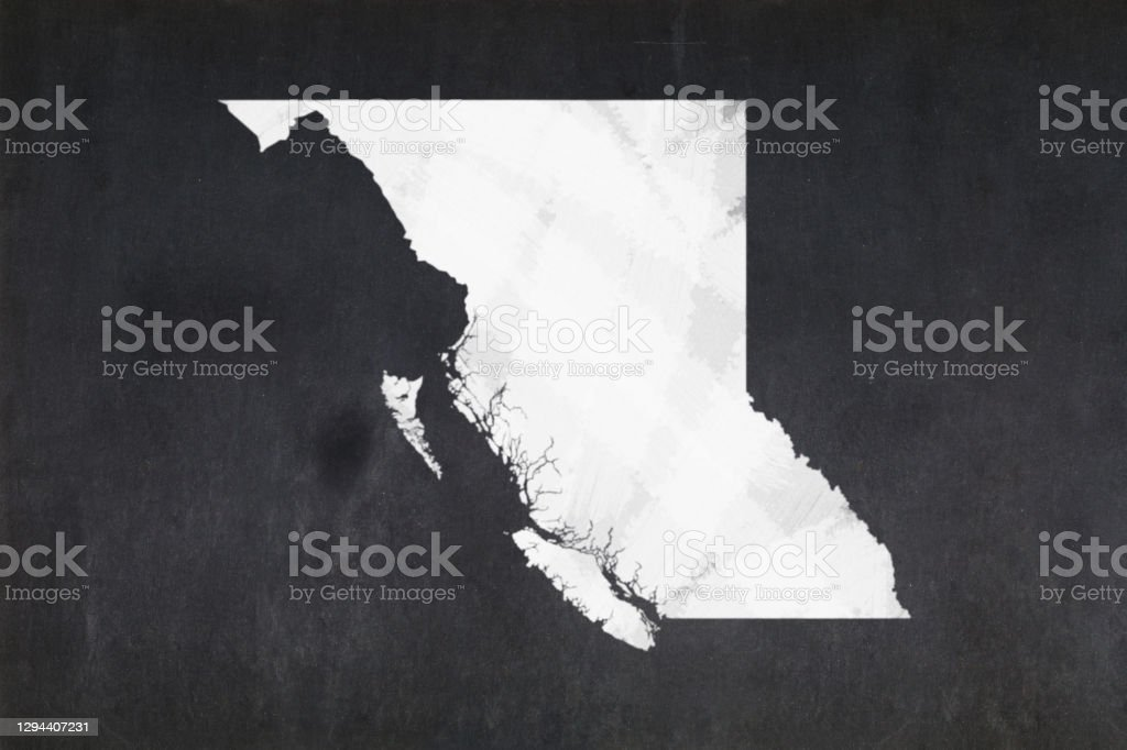 Map of the province of British Columbia drawn on a blackboard Blackboard with a the map of the province of British Columbia (Canada) drawn in the middle. Backgrounds Stock Photo