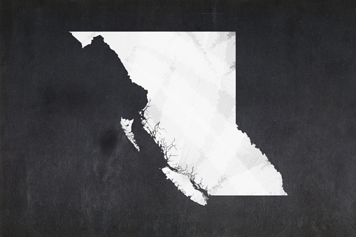 Map Of The Province Of British Columbia Drawn On A Blackboard Stock Photo - Download Image Now