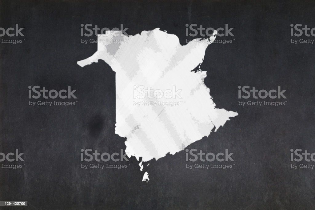 Map of the province of New Brunswick drawn on a blackboard Blackboard with a the map of the province of New Brunswick (Canada) drawn in the middle. Backgrounds Stock Photo