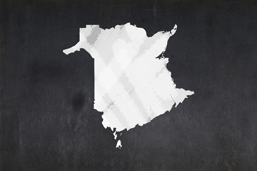 Map Of The Province Of New Brunswick Drawn On A Blackboard Stock Photo - Download Image Now