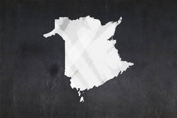 Map of the province of New Brunswick drawn on a blackboard stock photo
