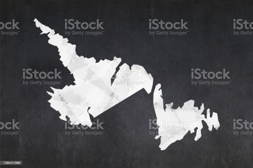 Map of the province of Newfoundland and Labrador drawn on a blackboard Blackboard with a the map of the province of Newfoundland and Labrador (Canada) drawn in the middle. Alberta Stock Photo