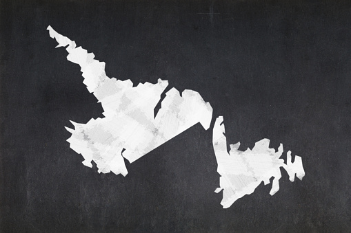 Map Of The Province Of Newfoundland And Labrador Drawn On A Blackboard Stock Photo - Download Image Now