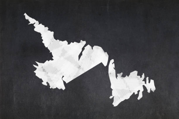 Map of the province of Newfoundland and Labrador drawn on a blackboard stock photo