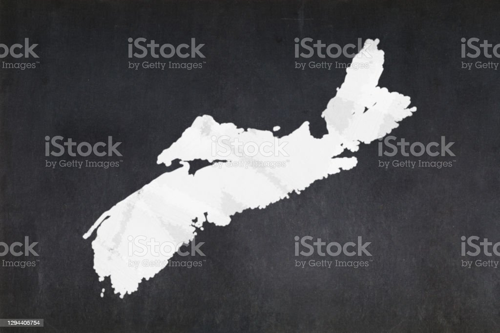 Map of the province of Nova Scotia drawn on a blackboard Blackboard with a the map of the province of Nova Scotia (Canada) drawn in the middle. Backgrounds Stock Photo