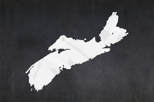Map Of The Province Of Nova Scotia Drawn On A Blackboard Stock Photo - Download Image Now