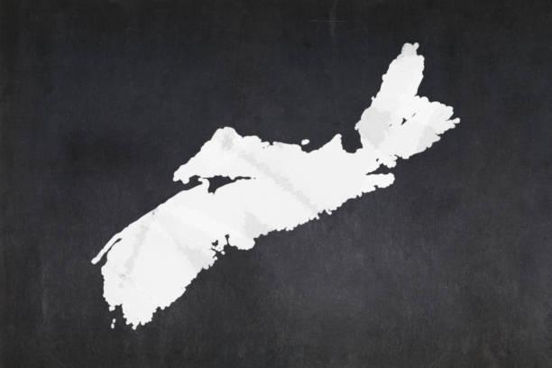 Map of the province of Nova Scotia drawn on a blackboard stock photo