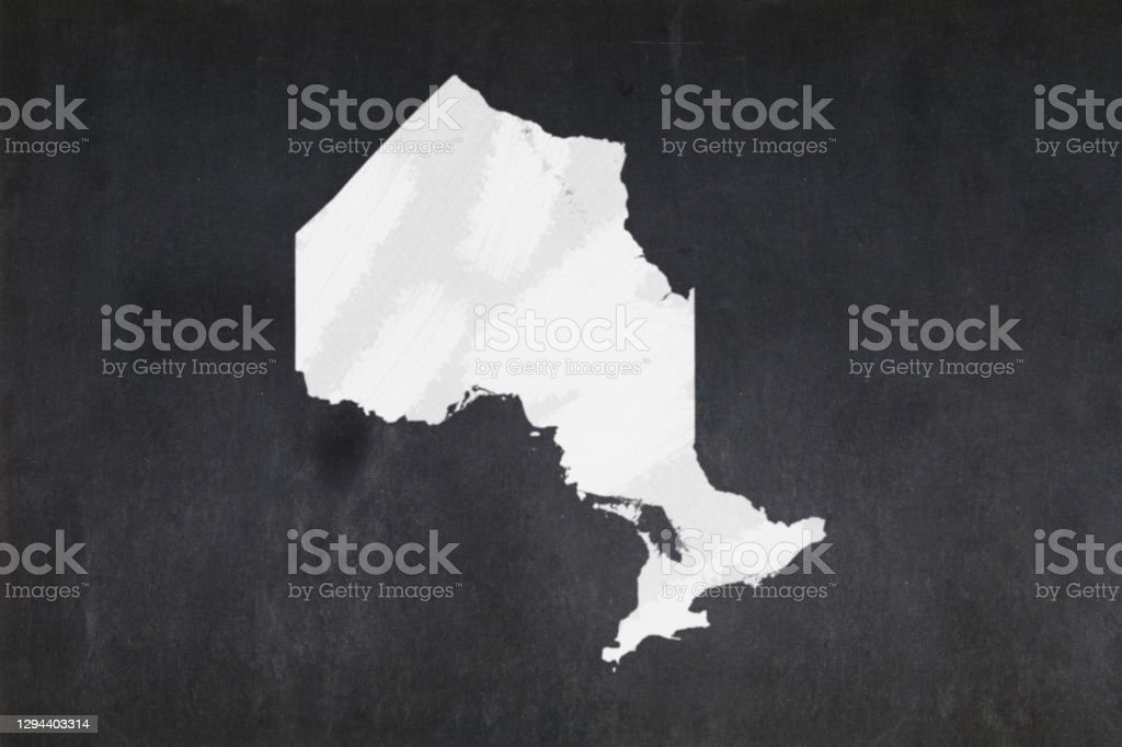 Map of the province of Ontario drawn on a blackboard Blackboard with a the map of the province of Ontario (Canada) drawn in the middle. Backgrounds Stock Photo