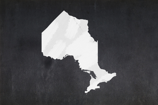 Map Of The Province Of Ontario Drawn On A Blackboard Stock Photo - Download Image Now